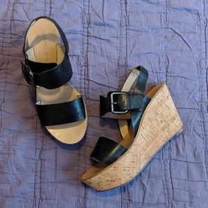 MARC FISHER Black Leather Cork Wedge Sandals
